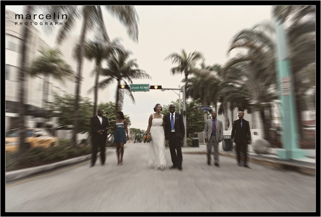 bride groom guests on lincoln road miami beach