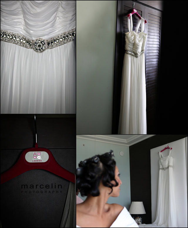 bride looking at hanging dress room at palms hotel
