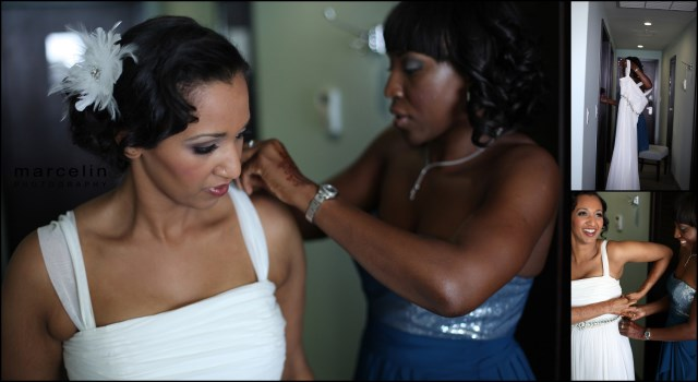 maid of honor helping bride at the palms