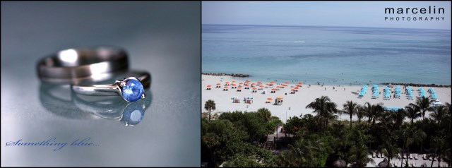 wedding rings and view of the water from the palms hotel